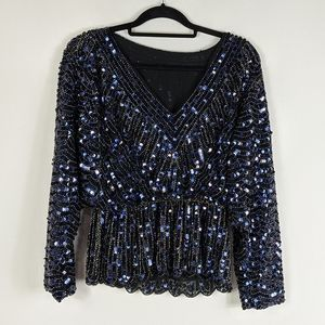 Gorgeous Sequin & Beaded Long Sleeve V-Neck Top
